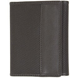 Travelon Brown Leather and Nylon RFID-blocking Tri-fold Wallet