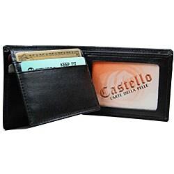 Romano Men's Black Flip-up Billfold Wallet - Thumbnail 1