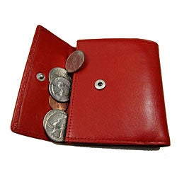 Romano Women's Black/ Red/ Beige Snap Closure Wallet - Thumbnail 1