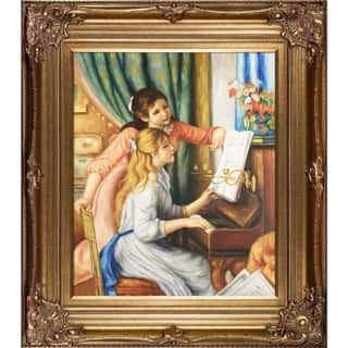 Renoir 'Young Girls at the Piano' Hand-painted Framed Canvas Art