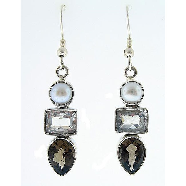 Handmade Sterling Silver Smokey Quartz and Pearl Earrings (India)