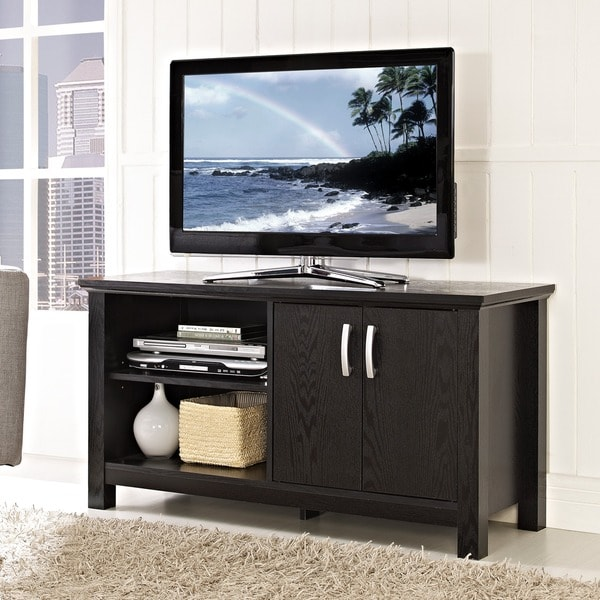 Shop 44 Inch Black Wood Tv Stand Free Shipping Today Overstock