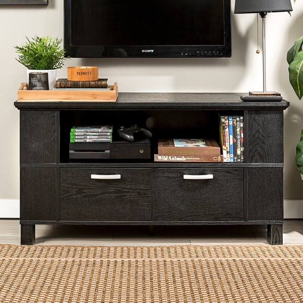Contemporary Black Wood 44-Inch TV Stand