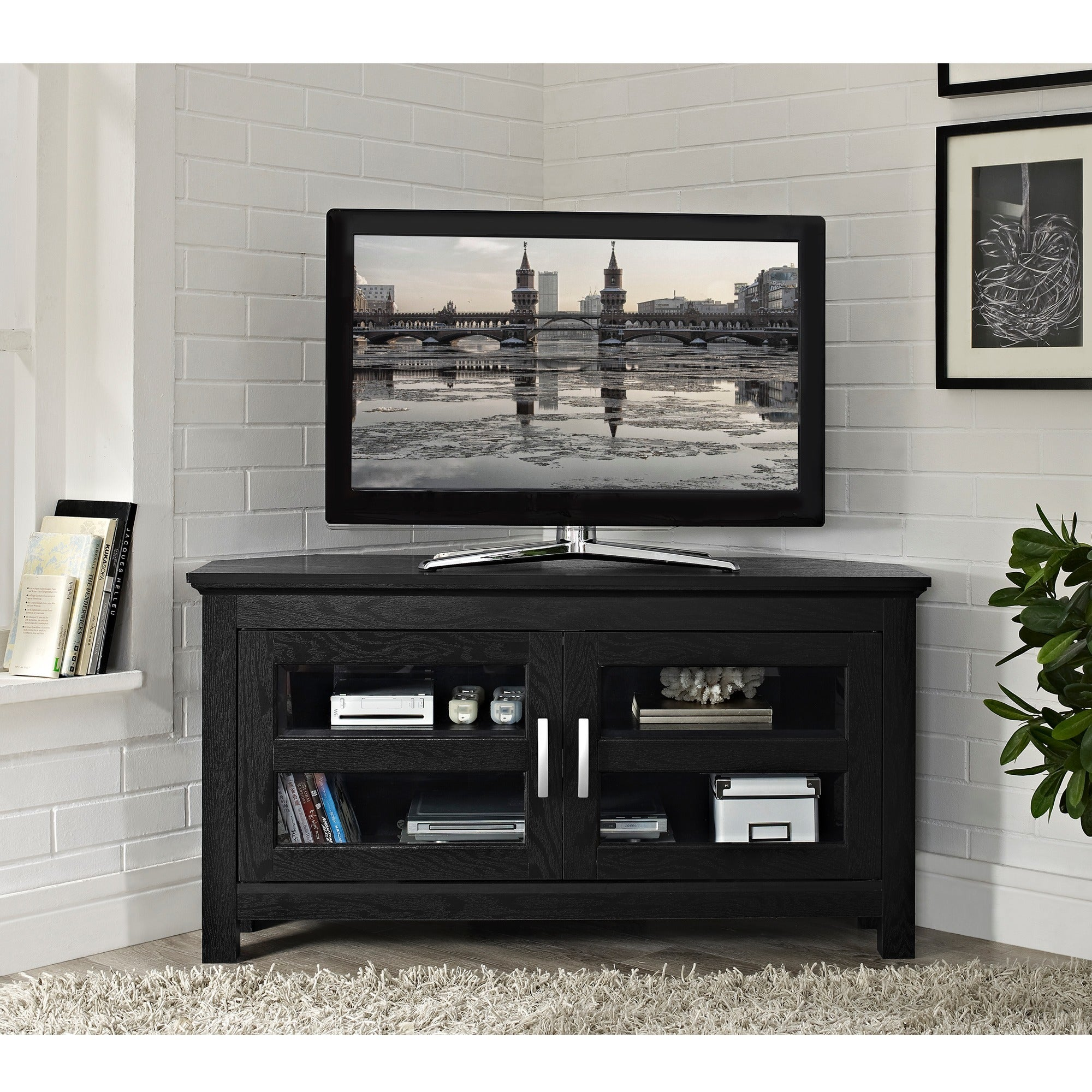 black corner tv stand Shop Black Wood 44 inch Corner TV Stand   Free Shipping On Orders  black corner tv stand
