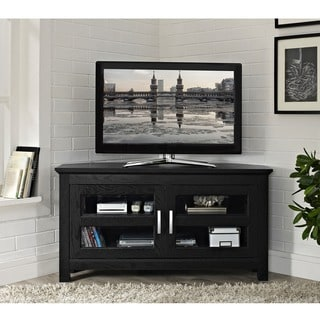 Black Wood 44-inch Corner TV Stand - Thumbnail 0
