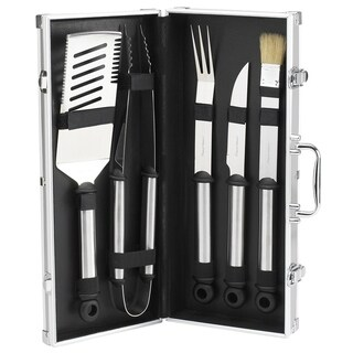 Picnic at Ascot 5 Piece Stainless Steel BBQ Barbecue Grill Tool Set with Aluminum Case