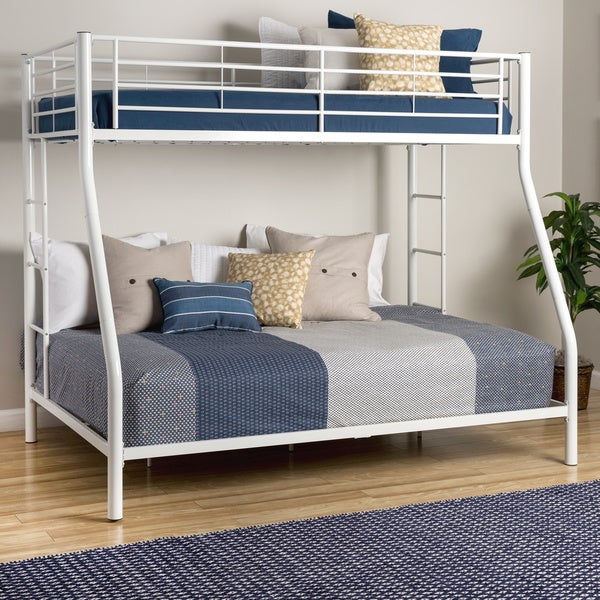 White Metal Bunk Bed Twin Over Full Free Shipping