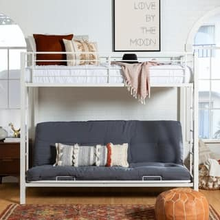 White Metal Twin Bunk Bed With Futon