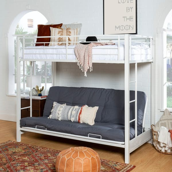 White Steel Twin Size Over Futon Bunk