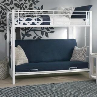White Metal Twin Futon Bunk Bed