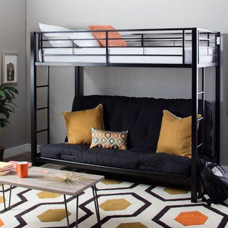 Modern Black Steel Twin Size Bunk Bed with Futon
