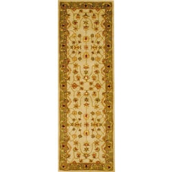 Herat Oriental Indo Hand-tufted Mahal Ivory/ Green Wool Runner (2'6 x 8')