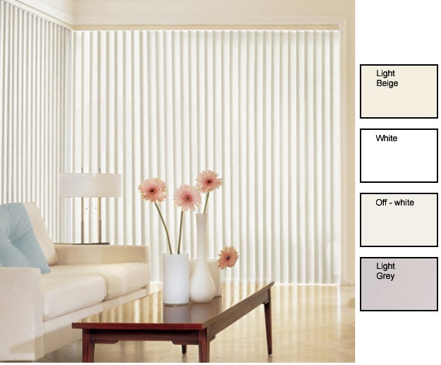 Solid Vinyl Vertical Blinds (58 in. W x Custom Length)
