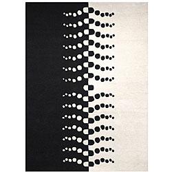 Safavieh Handmade Rodeo Drive Modern Ivory/ Black Wool Rug (7'6 x 9'6)