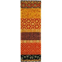 Safavieh Handmade Rodeo Drive Bohemian Collage Rust/ Gold Wool Runner (2'6 x 10') - 2'6 x 10'