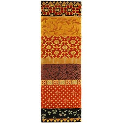 Safavieh Handmade Rodeo Drive Bohemian Collage Rust/ Gold Wool Runner (2'6 x 12')
