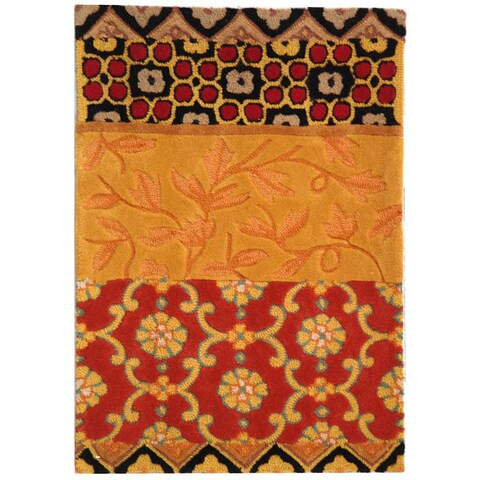 "Safavieh Handmade Rodeo Drive Bohemian Collage Rust/ Gold Wool Rug - 2'6"" x 4'6"""