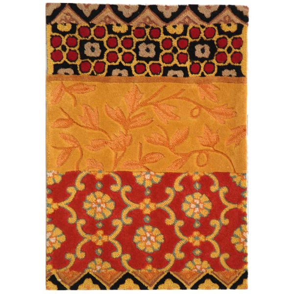 "Safavieh Handmade Rodeo Drive Bohemian Collage Rust/ Gold Wool Rug (2' 6"" x 4' 6"")"