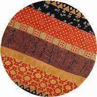 "Safavieh Handmade Rodeo Drive Bohemian Collage Rust/ Gold Wool Rug - 5'9"" x 5'9"" round"