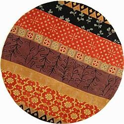 Safavieh Handmade Rodeo Drive Bohemian Collage Rust/ Gold Wool Rug (7' 9 x 7' 9 Round)