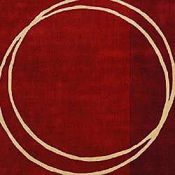 Safavieh Handmade Rodeo Drive Modern Abstract Red/ Ivory Wool Rug (9'6 x 13'6) - Thumbnail 2