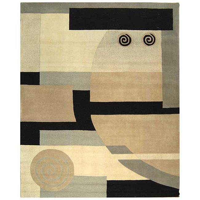 "Safavieh Handmade Rodeo Drive Modern Abstract Ivory/ Grey Wool Rug (7' 6"" x 9' 6"")"