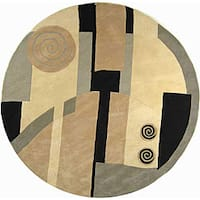 "Safavieh Handmade Rodeo Drive Modern Abstract Ivory/ Grey Wool Rug - 7'9"" x 7'9"" round"