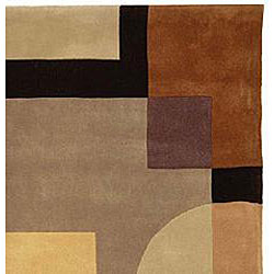 Safavieh Handmade Rodeo Drive Modern Abstract Olive/ Black Wool Runner Rug (2'6 x 12')