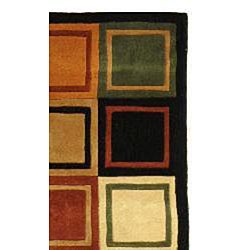 Safavieh Handmade Rodeo Drive Modern Multi/ Black Wool Runner Rug (2'6 x 12')