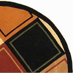 Safavieh Handmade Rodeo Drive Modern Multi/ Black Wool Rug (8' Round)