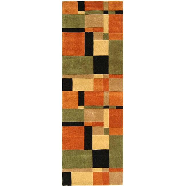 Safavieh Handmade Rodeo Drive Modern Abstract Rust/ Multi Wool Runner Rug (2'6 x 12')