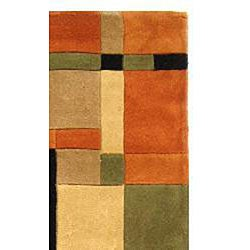 Safavieh Handmade Rodeo Drive Modern Abstract Rust/ Multi Wool Runner Rug (2'6 x 12') - Thumbnail 1