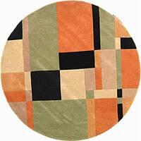 "Safavieh Handmade Rodeo Drive Modern Abstract Rust/ Multi Wool Rug - 5'9"" x 5'9"" round"