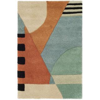 Safavieh Handmade Rodeo Drive Modern Abstract Blue/ Rust Wool Rug (2' x 3')