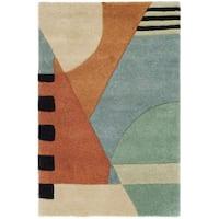 Safavieh Handmade Rodeo Drive Modern Abstract Blue/ Rust Wool Rug - 2' X 3'