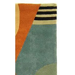 Safavieh Handmade Rodeo Drive Modern Abstract Blue/ Rust Wool Runner Rug (2'6 x 10') - Thumbnail 1