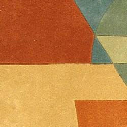 Safavieh Handmade Rodeo Drive Modern Abstract Blue/ Rust Wool Runner Rug (2'6 x 10') - Thumbnail 2
