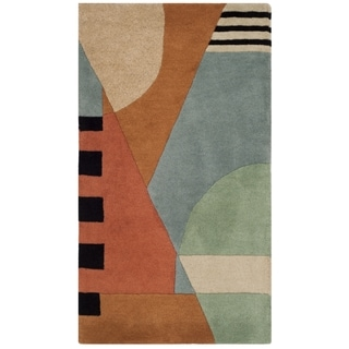 "Safavieh Handmade Rodeo Drive Modern Abstract Blue/ Rust Wool Rug (2'6"" x 4'6"")"