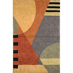 Safavieh Handmade Rodeo Drive Modern Abstract Blue/ Rust Wool Rug (3'6 x 5'6)