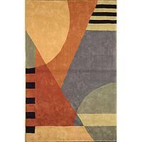 Safavieh Handmade Rodeo Drive Modern Abstract Blue/ Rust Wool Rug - 3'6 x 5'6