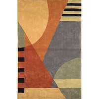 Safavieh Handmade Rodeo Drive Modern Abstract Blue/ Rust Wool Rug - 7'6 x 9'6