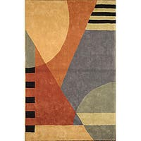 "Safavieh Handmade Rodeo Drive Modern Abstract Blue/ Rust Wool Rug - 7'6"" x 9'6"""
