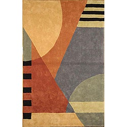 Safavieh Handmade Rodeo Drive Modern Abstract Blue/ Rust Wool Rug (8' x 11')