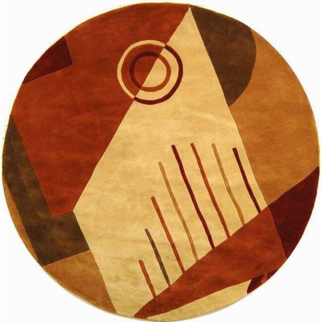 Safavieh Handmade Rodeo Drive Modern Abstract Rust/ Multi Wool Rug (5'9 Round)