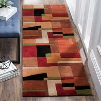 "Safavieh Handmade Rodeo Drive Modern Abstract Rust/ Multi Wool Runner Rug - 2'6"" x 14'"
