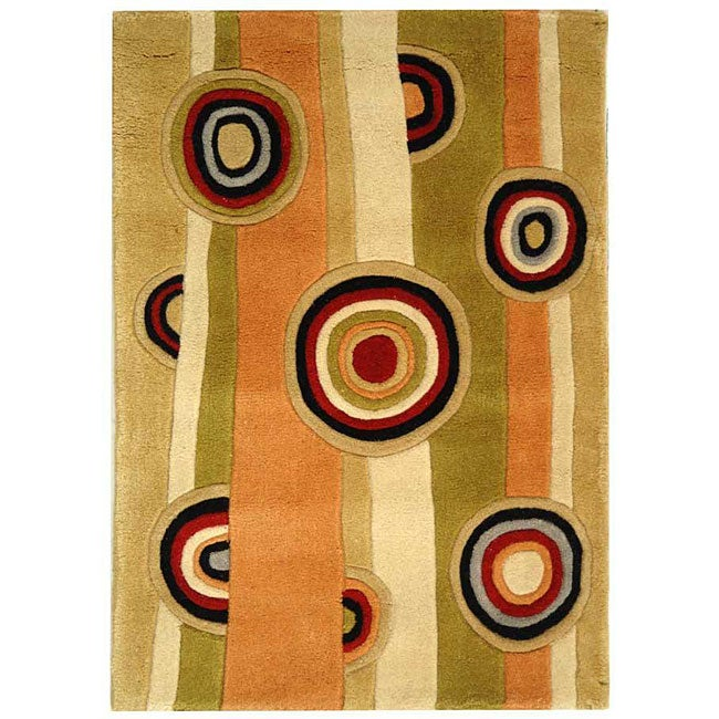 Safavieh Handmade Rodeo Drive Modern Abstract Sage/ Red Wool Rug (2' x 3')