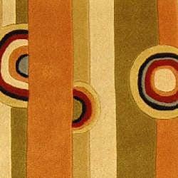 Safavieh Handmade Rodeo Drive Modern Abstract Sage/ Red Wool Runner Rug (2'6 x 12')