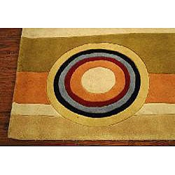 Safavieh Handmade Rodeo Drive Modern Abstract Sage/ Red Wool Rug (5' x 8') - Thumbnail 1