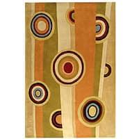 Safavieh Handmade Rodeo Drive Modern Abstract Sage/ Red Wool Rug - 5' x 8'
