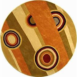 Safavieh Handmade Rodeo Drive Modern Abstract Sage/ Red Wool Rug (5'9 Round)